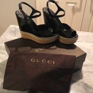 Gucci Black Patent Wedge